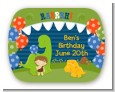 Dinosaur and Caveman - Personalized Birthday Party Rounded Corner Stickers thumbnail
