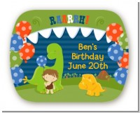 Dinosaur and Caveman - Personalized Birthday Party Rounded Corner Stickers