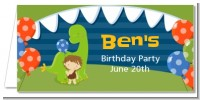 Dinosaur and Caveman - Personalized Birthday Party Place Cards