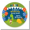 Dinosaur and Caveman - Round Personalized Birthday Party Sticker Labels thumbnail
