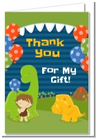 Dinosaur and Caveman - Birthday Party Thank You Cards