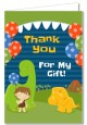 Dinosaur and Caveman - Birthday Party Thank You Cards thumbnail