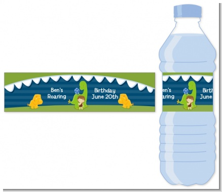 Dinosaur and Caveman - Personalized Birthday Party Water Bottle Labels