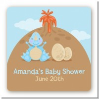 Dinosaur Baby Boy - Square Personalized Baby Shower Sticker Labels