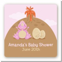 Dinosaur Baby Girl - Square Personalized Baby Shower Sticker Labels