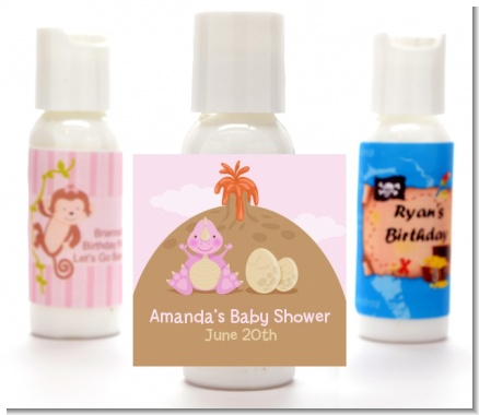 Dinosaur Baby Girl - Personalized Baby Shower Lotion Favors