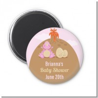 Dinosaur Baby Girl - Personalized Baby Shower Magnet Favors