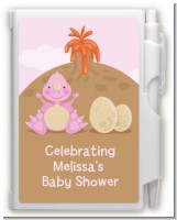 Dinosaur Baby Girl - Baby Shower Personalized Notebook Favor