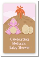 Dinosaur Baby Girl - Custom Large Rectangle Baby Shower Sticker/Labels