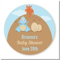 Dinosaur Baby Boy - Round Personalized Baby Shower Sticker Labels