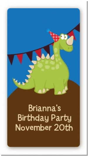 dinosaur birthday party rectangular sticker labels dinosaur hand