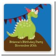 Dinosaur - Square Personalized Birthday Party Sticker Labels thumbnail
