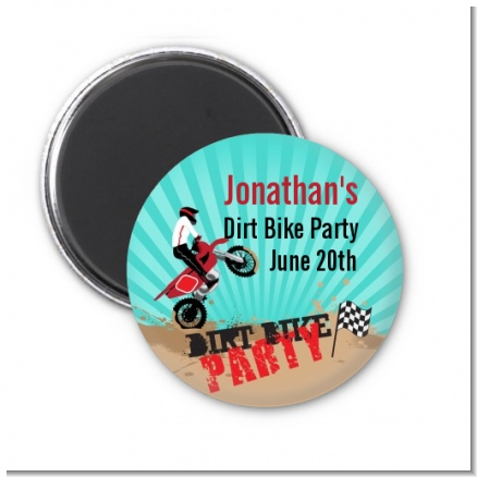 Dirt Bike - Personalized Birthday Party Magnet Favors