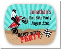 Dirt Bike - Personalized Birthday Party Rounded Corner Stickers