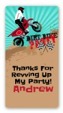 Dirt Bike - Custom Rectangle Birthday Party Sticker/Labels