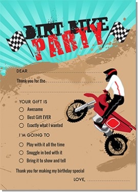 Dirt Bike Birthday Party Fill In Thank You Cards