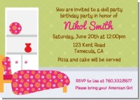 Doll Dress Up - Birthday Party Invitations