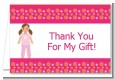 Doll Party Brunette Hair - Birthday Party Thank You Cards thumbnail