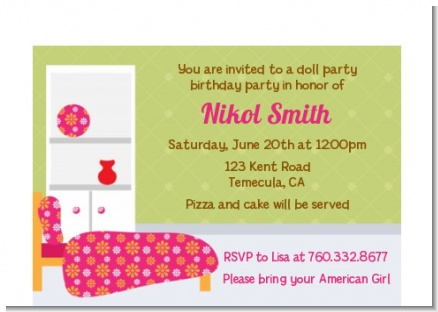 Doll Party - Birthday Party Petite Invitations
