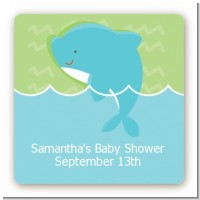 Dolphin | Aquarius Horoscope - Square Personalized Baby Shower Sticker Labels
