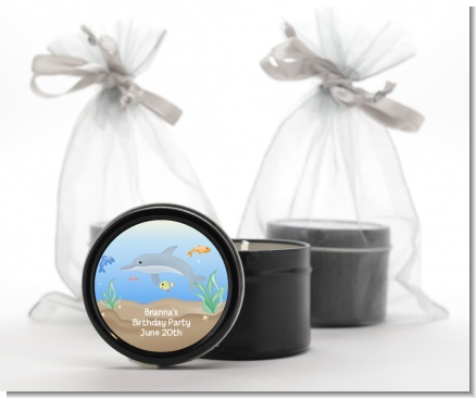 Dolphin - Birthday Party Black Candle Tin Favors