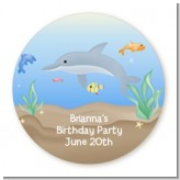Dolphin - Round Personalized Birthday Party Sticker Labels