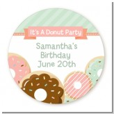 Donut Party - Round Personalized Birthday Party Sticker Labels