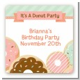 Donut Party - Square Personalized Birthday Party Sticker Labels thumbnail