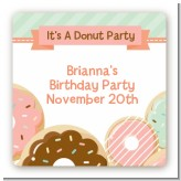 Donut Party - Square Personalized Birthday Party Sticker Labels