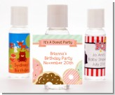 Donut Party - Personalized Birthday Party Hand Sanitizers Favors