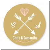 Double Arrows - Round Personalized Bridal Shower Sticker Labels