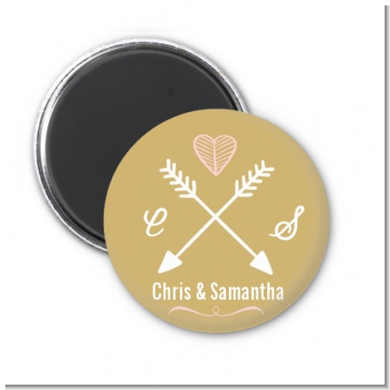 Double Arrows - Personalized Bridal Shower Magnet Favors