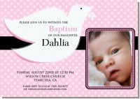 Dove Pink Baptism Photo - Baptism / Christening Invitations