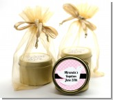 Dove Pink - Baptism / Christening Gold Tin Candle Favors