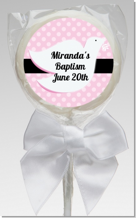 Dove Pink - Personalized Baptism / Christening Lollipop Favors