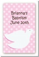 Dove Pink - Custom Large Rectangle Baptism / Christening Sticker/Labels