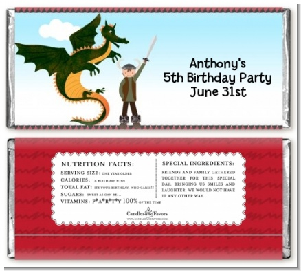 Dragon and Vikings - Personalized Birthday Party Candy Bar Wrappers