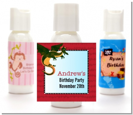 Dragon and Vikings - Personalized Birthday Party Lotion Favors