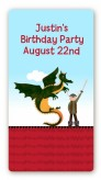 Dragon and Vikings - Custom Rectangle Birthday Party Sticker/Labels