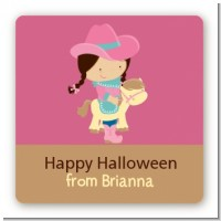 Dress Up Cowgirl Costume - Square Personalized Halloween Sticker Labels