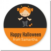 Dress Up Kitty Costume - Round Personalized Halloween Sticker Labels