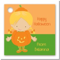 Dress Up Pumpkin Costume - Personalized Halloween Card Stock Favor Tags