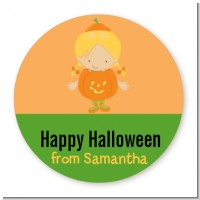 Dress Up Pumpkin Costume - Round Personalized Halloween Sticker Labels