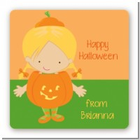 Dress Up Pumpkin Costume - Square Personalized Halloween Sticker Labels