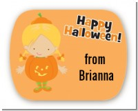 Dress Up Pumpkin Costume - Personalized Halloween Rounded Corner Stickers