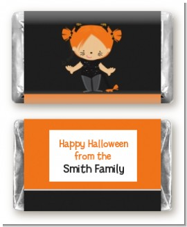 Dress Up Kitty Costume - Personalized Halloween Mini Candy Bar Wrappers