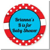 Dr. Seuss Inspired - Round Personalized Baby Shower Sticker Labels