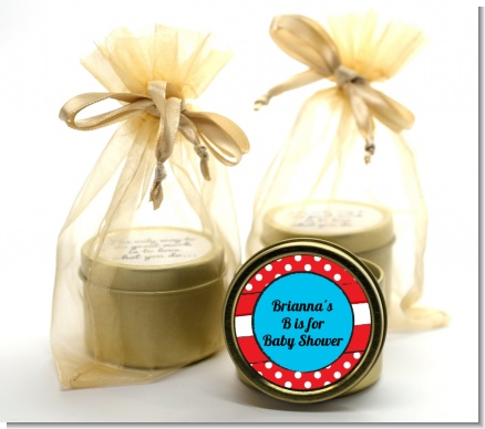 Dr. Seuss Inspired - Baby Shower Gold Tin Candle Favors