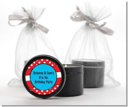 Dr. Seuss Inspired Thing 1 Thing 2 - Birthday Party Black Candle Tin Favors