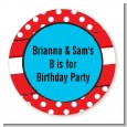Dr. Seuss Inspired Thing 1 Thing 2 - Round Personalized Birthday Party Sticker Labels thumbnail